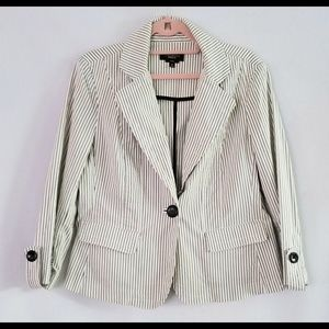 Talbots Women's White Black Striped Stretch Blazer